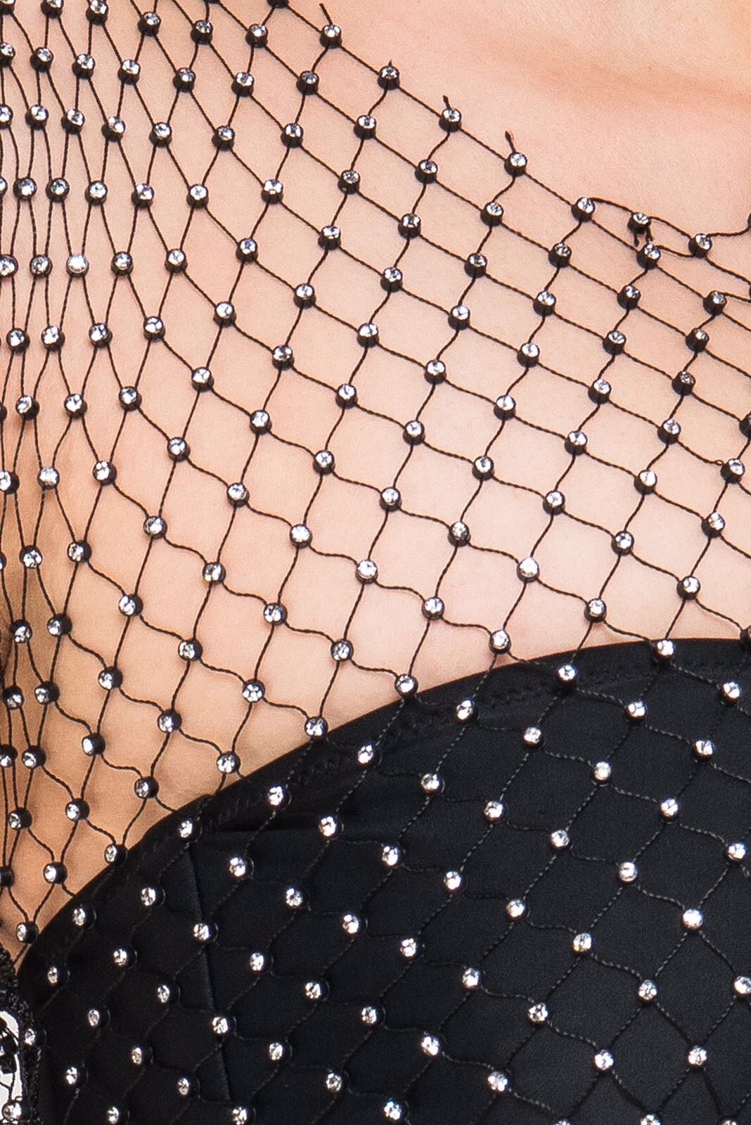 Fishnet and diamante Crop Top-Womens Clothing. Close up of detailing.