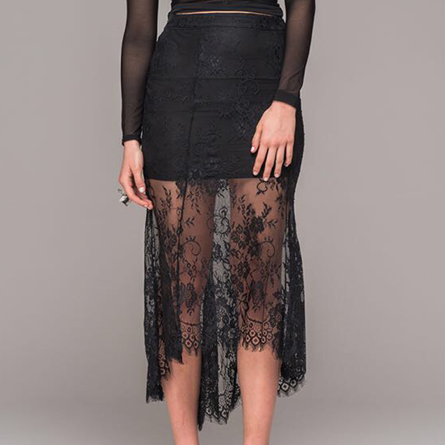 Sexy Lace skirt with asymmetrical hem, front view.