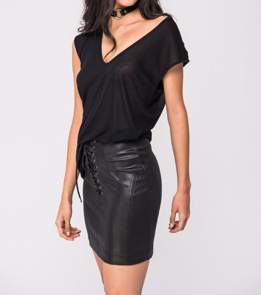 Faux Leather Mini Skirt-Womens Clothes. Unapologetically vegan. Side view