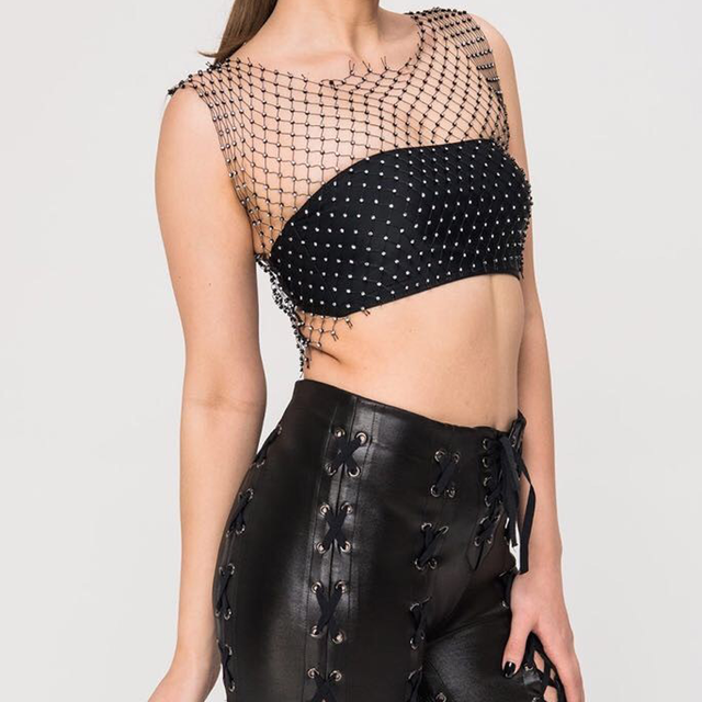 Fishnet Crop Top-Womens Clothing. Front view with unapologetic, festival vibe.