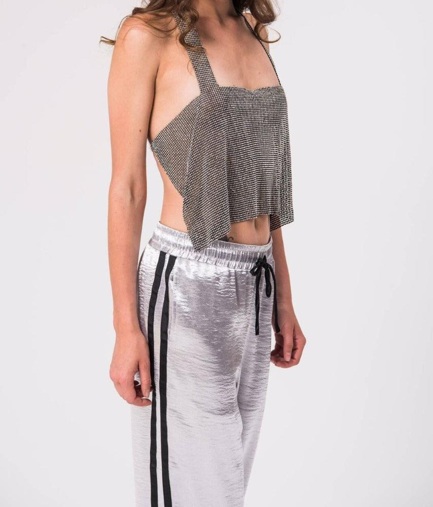 Diamante Halter Neck Top-Womens Clothes