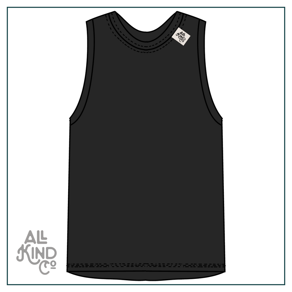 Black; Drop Sleeve Vest