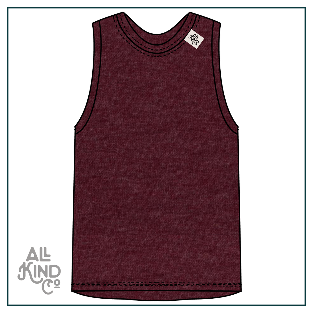 Maroon; Drop Sleeve Vest