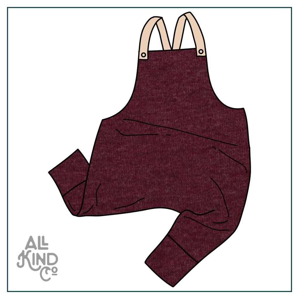 Maroon; Dungarees
