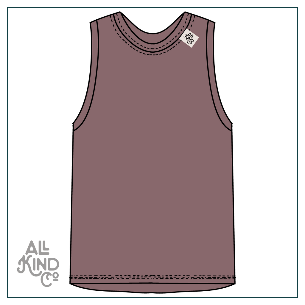 Mauve; Drop Sleeve Vest