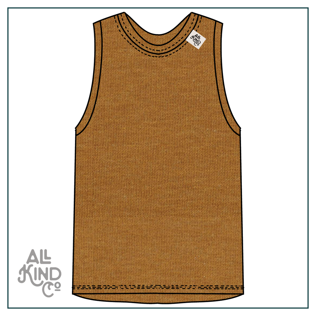 Ochre; Drop Sleeve Vest