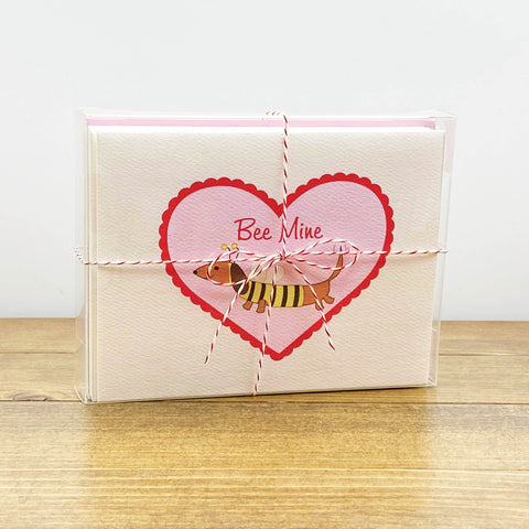 Dachshund Bee Valentine's Day Card Bee Mine - Message Inside (Set of 10)
