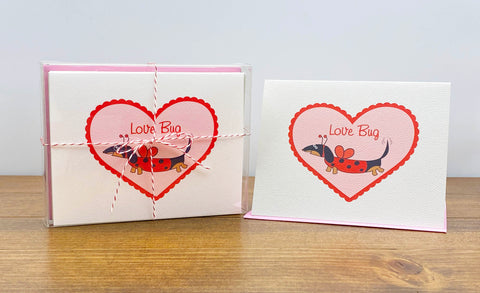 Black and tan dachshund ladybug Valentine's Day Card - Love Bug with Stationery Box