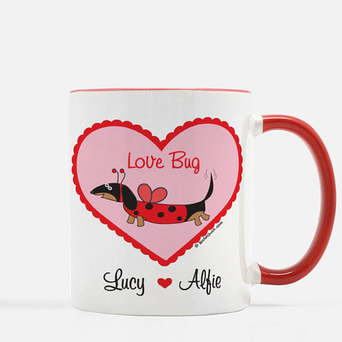 Personalized Dachshund Ladybug Love Bug Valentine's Day Red White Ceramic Mug