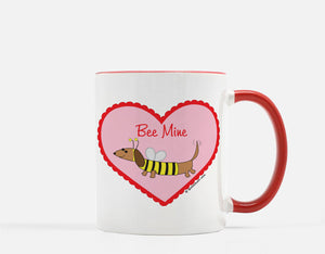 Dachshund Bee  in Heart Valentine's Day Red White Ceramic Mug.