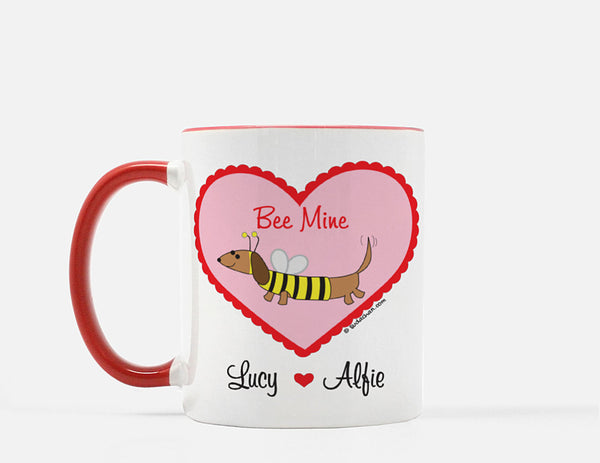 Dachshund Bee  in Heart Valentine's Day Personalized Red White Ceramic Mug.