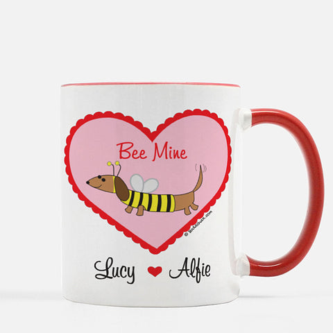 Dachshund Bee Valentine's Day Personalized Ceramic Mug.