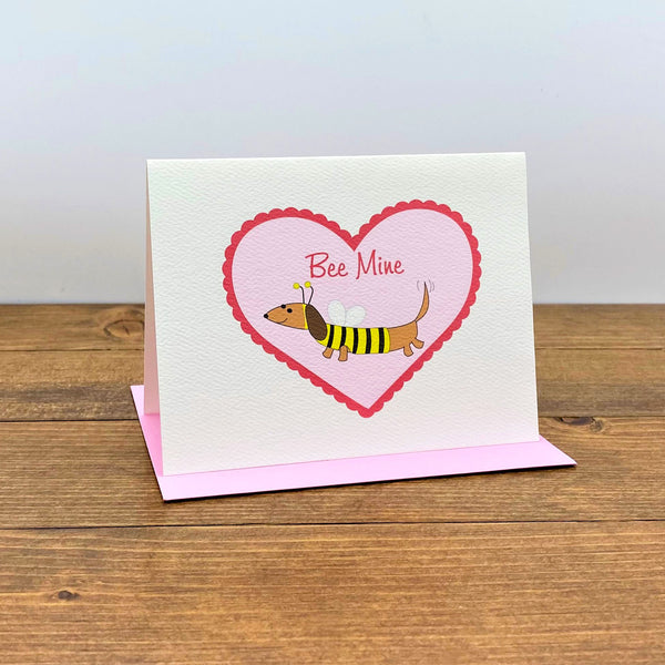 Dachshund Bee  in Heart Valentine's Day  Card - Bee Mine