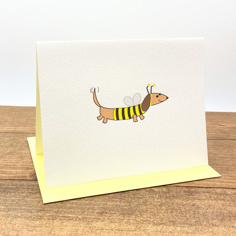 Dachshund dressed as bumble bee note cards.