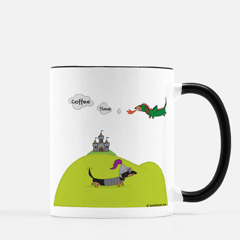 Dachshund Dragon and Knight Ceramic Mug Coffee Time Message
