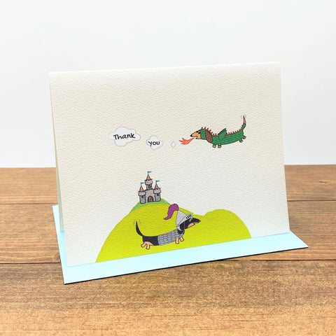 Medieval dachshunds dressed as knight and dragon thank you note cards.