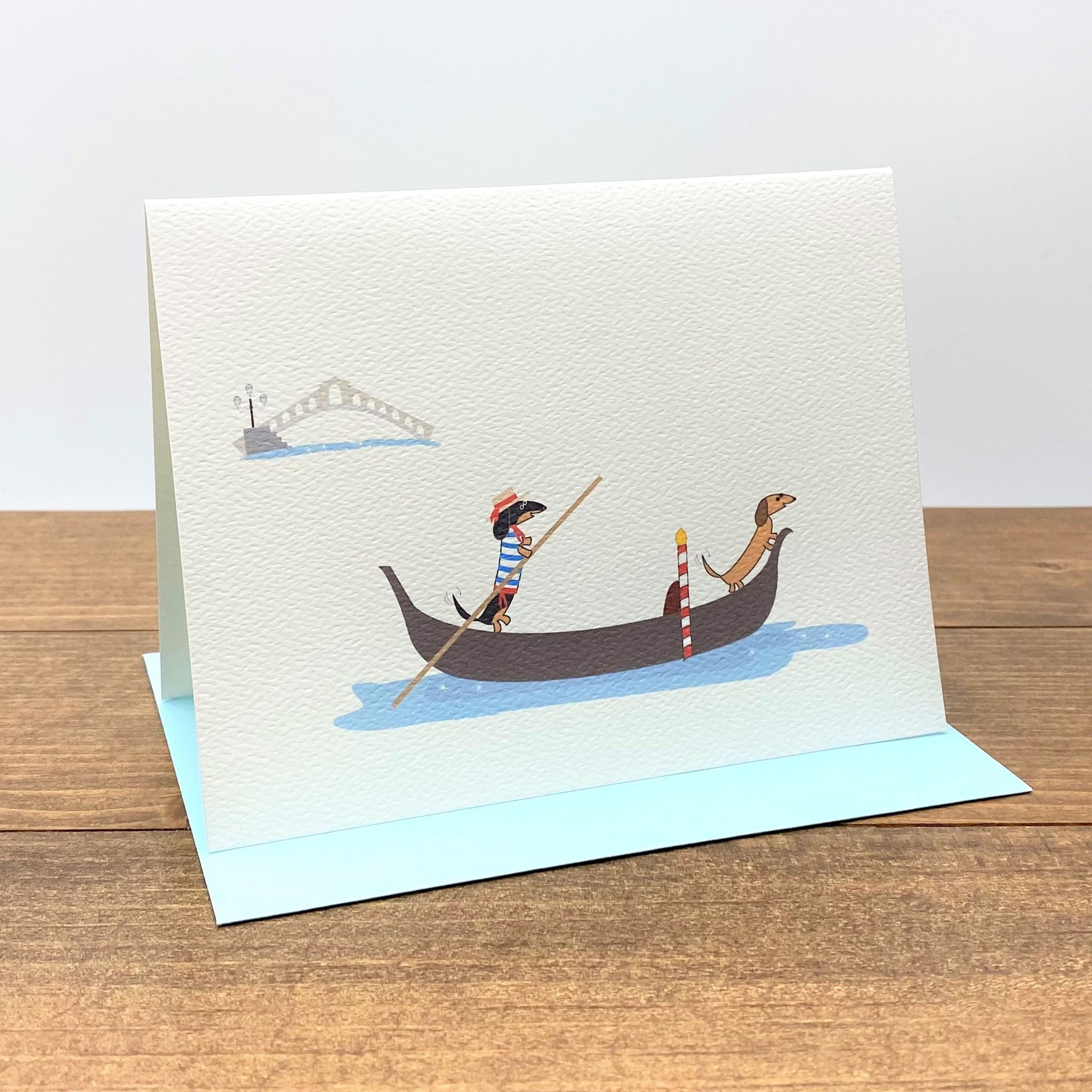 Two dachshunds on Gondola in Venice Italy note cards