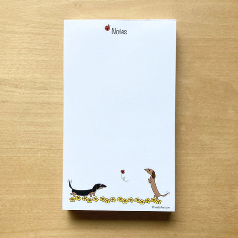 cute dachshunds with flowers personalized notepad