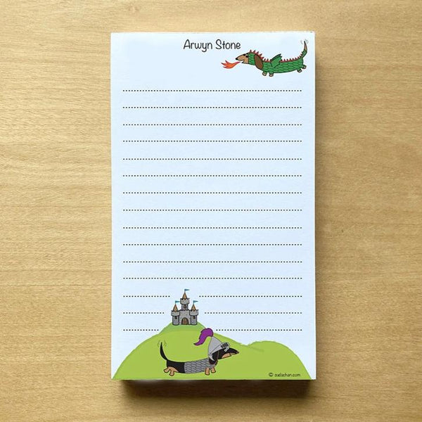 medieval dachshund dragon and knight with castle notepad