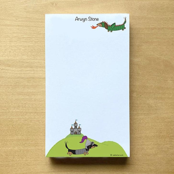 medieval dachshund and knight with castle notepad lined or unlined