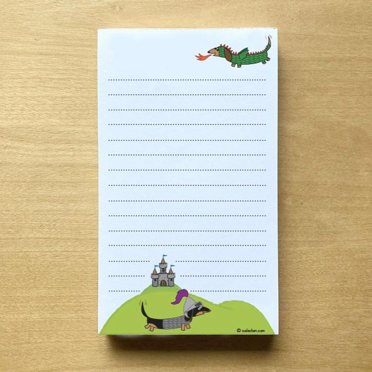 "Medieval Dachshunds Small Personalized Notepad - 3.4"" x 5.75"" (100 sheets)"
