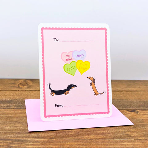 Two dachshunds Valentine's Day Flat Cards with Heart Candies.