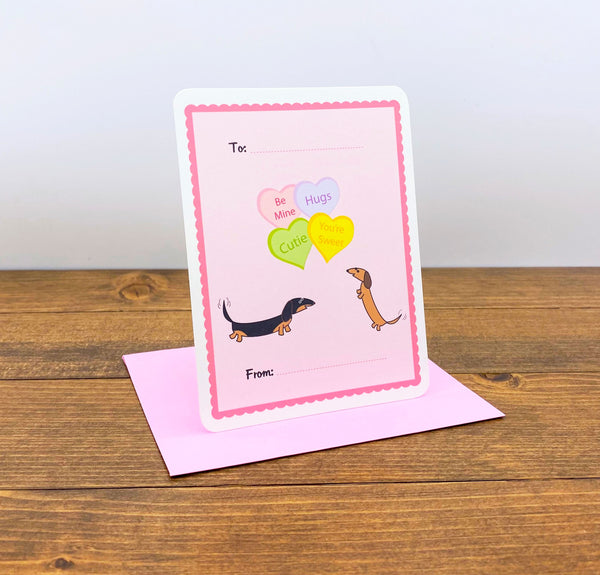 Two dachshunds Valentine's Day Flat Cards with Heart Candy.