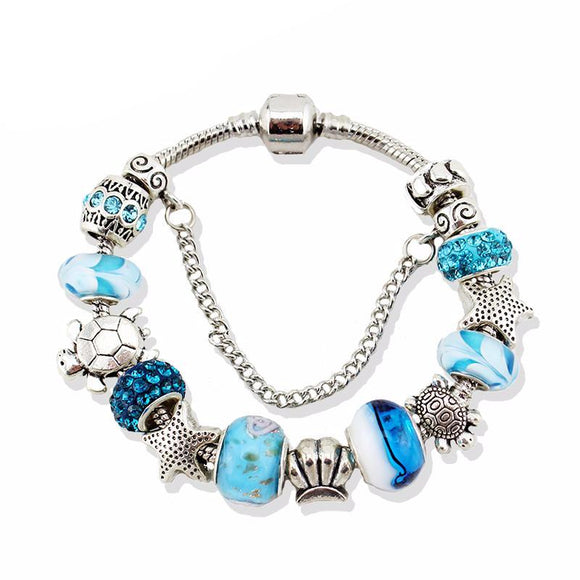 Blue Glass Sea Turtles Charm Bracelets