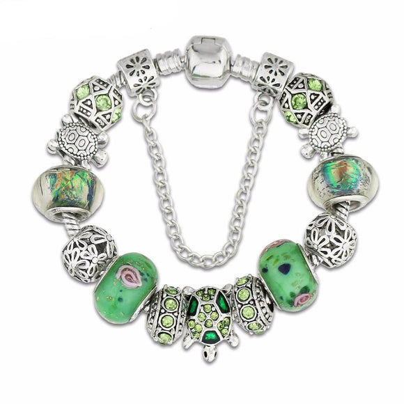 Green Glass Sea Turtle Charm Bracelet