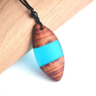 Handmade Wood Resin Water Color Necklace