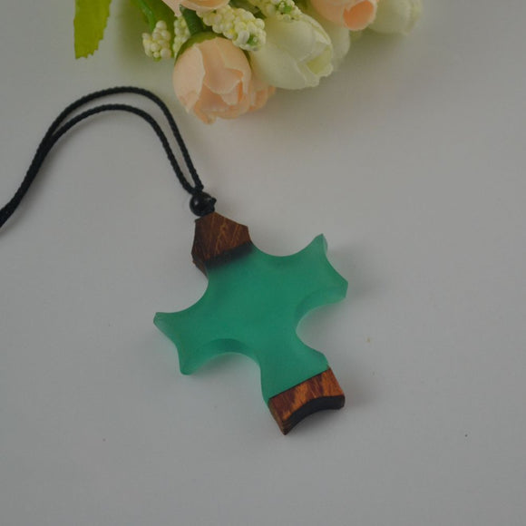 Vintage Resin Wood Cross Neckalace