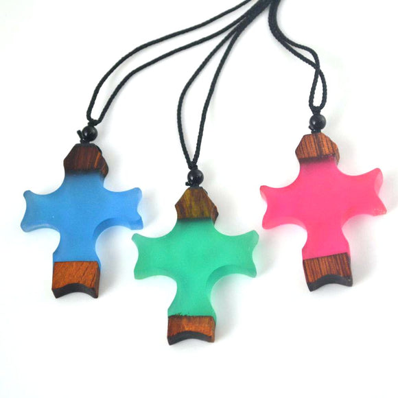 Vintage Resin Wood Cross Pendant
