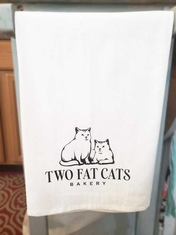 Two Fat Cats Bakery Logo Dish Towel