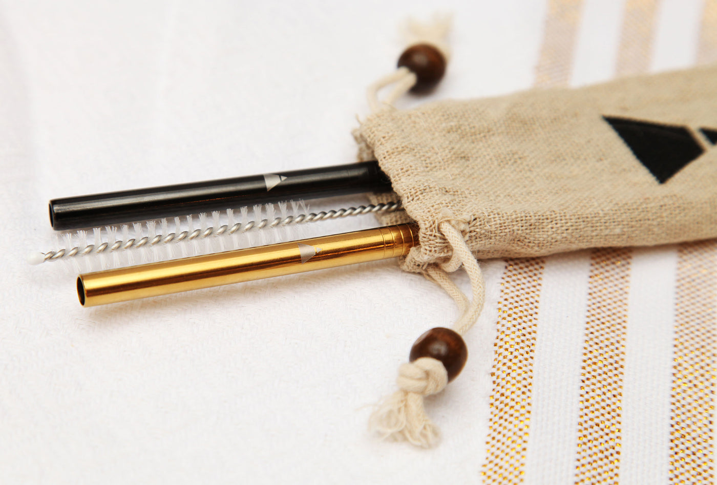 Reusable Straw Kit - Gold & Black
