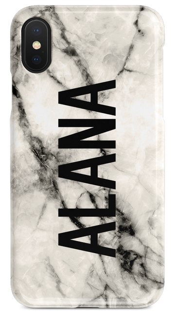 White Marble – Vertical Bold Name