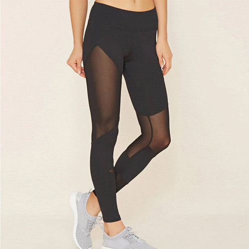 2018 Sexy Mesh Patchwork Sports Leggings Women Fitness Clothing Black Gym Trousers Sportswear Yoga Pants Running Tights