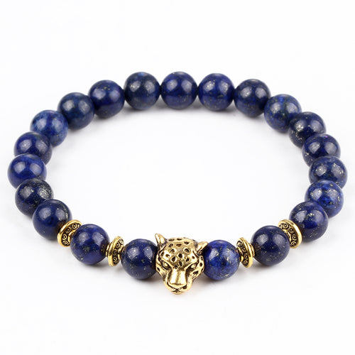 FREE SHIPPING Gold Color Leopard Head Bracelet Natural Stone Lava Matte Men and Women Bracelets