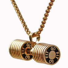 Stainless Steel Dumbbell Charm Pendant Necklace Fitness Statement Necklace Jewelry Gifts for Sports Lovers For men