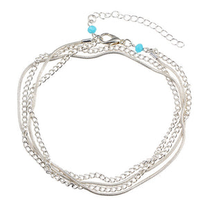 Vintage Antique Silver Color Anklet with Big Blue Stone Beads Bohemian Ankle Bracelet cheville Boho Foot Jewelry for Women