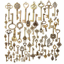 70pcs/sets Antique Vintage Old Look Bronze Skeleton Keys