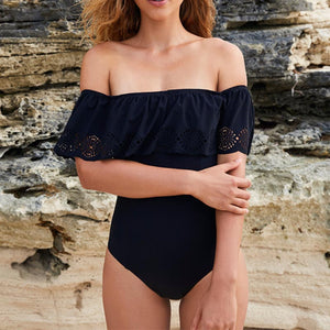 2021 Sexy Women Off Shoulder Solid Swimwear Swimsuit