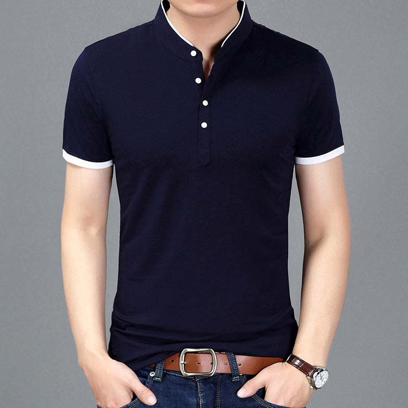 2021 Summer T-shirt Men Solid Color Slim Fit Short Sleeve Mandarin Collar Casual