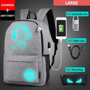 2018 Anti-theft Nightlight School Bags USB Charging Laptop Backpack