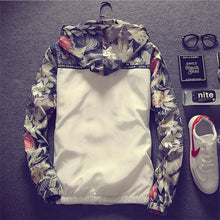 Spring Autumn Casual Bomber Jacket Hooded Slim Coat Floral Print