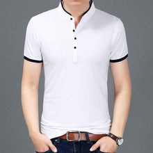 2019 Summer Clothing Tshirt Men Solid Color Slim Fit Short Sleeve T Shirt Men Mandarin Collar Casual