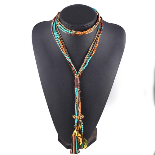 Maxi collar Facet Beads Necklaces For Women Multi layer Long Necklace Statement Jewelry Collares Collier joyas