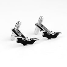 Batman Cuff-links Men Silver Plated Black Design