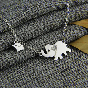 Titanium Steel Double Elephant Necklaces Mama Baby Pendants Jewelry