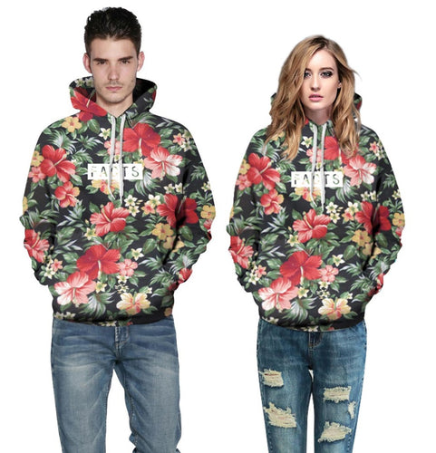 Autumn Winter Men/Women Hoodies With Cap Print Red Flowers Green Leaves 3d Hooded Sweatshirts Hoody