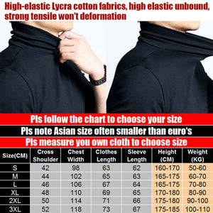 Plus Size Men's Elastic T Shirt Solid Turtle Neck Long Sleeve TShirt Men Slim Fit Summer Casual Man T Shirts